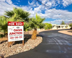 Oasis Junction Mobile Home Park - monthly and annual mobile home rentals available.